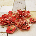 Prima - Gallery Roses Collection - Flower Embellishments - Red and White