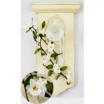 Prima - Cherry Blossom Branch Collection - Flower Embellishments - White