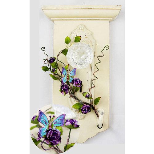 Prima - Flutter Vines Collection - Butterfly and Flower Embellishments - Violet