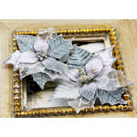 Prima - Holiday Lights Collection - Flower Embellishments - Poinsettias - Silver Mist, CLEARANCE
