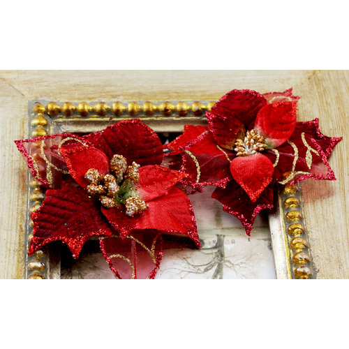 Prima - Holiday Lights Collection - Flower Embellishments - Poinsettias - Ruby Sparkle