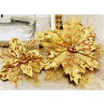 Prima - Holiday Lights Collection - Flower Embellishments - Poinsettias - Gala Gold, CLEARANCE