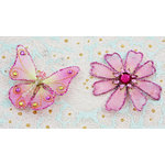 Prima - Gossamer Wings Collection - Jeweled Butterfly and Flower Embellishments - Orchid, CLEARANCE