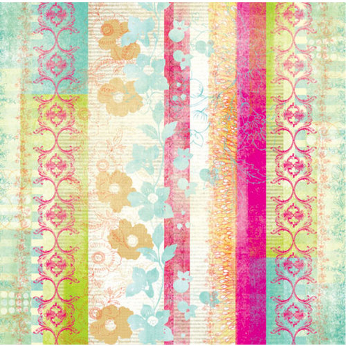 Prima - Specialty Paper Collection - 12 x 12 Embroidered Paper - Charisma Combination