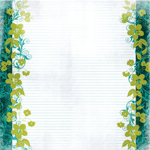 Prima - Specialty Paper Collection - 12 x 12 Embroidered Paper - Lemon Lime Breezes