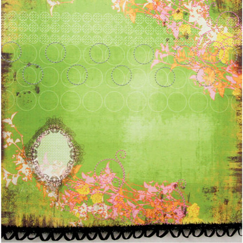 Prima - Specialty Paper Collection - 12 x 12 Embroidered Paper with Ribbon - Deja Vu Dreams