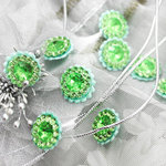 Prima - Sultan Collection - Bling - Flower Center Embellishments - Green