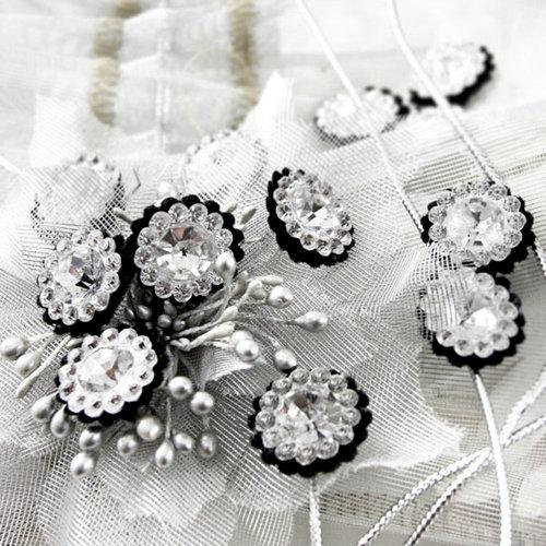 Prima - Sultan Collection - Bling - Flower Center Embellishments - Black