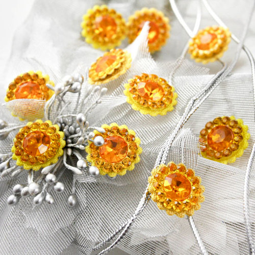 Prima - Sultan Collection - Bling - Flower Center Embellishments - Yellow, CLEARANCE