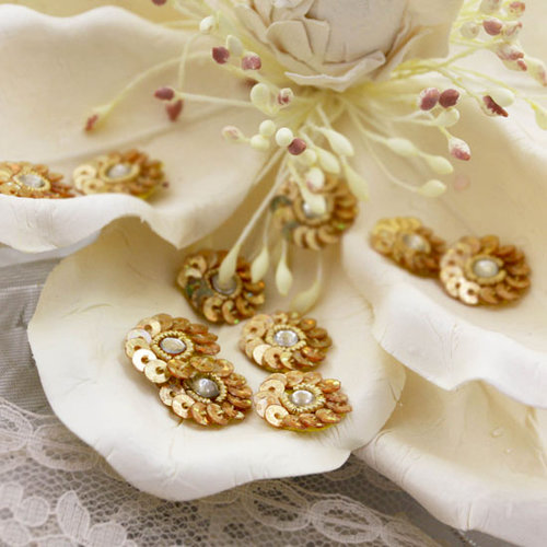 Prima - Raja Collection - Bling - Flower Center Embellishments - Gold