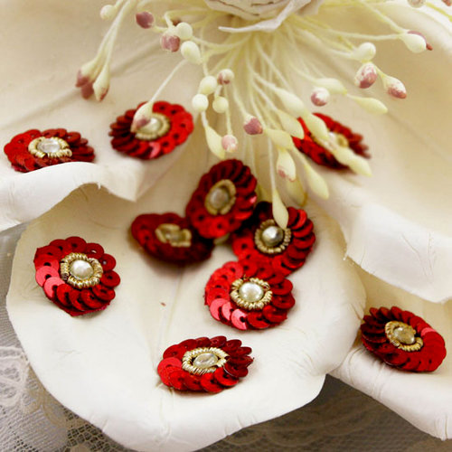 Prima - Raja Collection - Bling - Flower Center Embellishments - Red