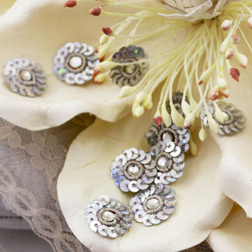 Prima - Raja Collection - Bling - Flower Center Embellishments - Silver