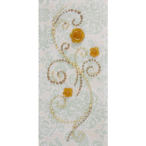 Prima - Say It In Pearls Collection - Self Adhesive Jewel Art - Bling - Fairy Wings with Flowers - Light Brown, CLEARANCE