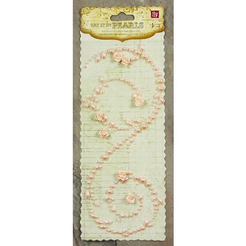 Prima - Say It In Pearls Collection - Self Adhesive Jewel Art - Bling - Swirl with Roses - Light Pink, CLEARANCE