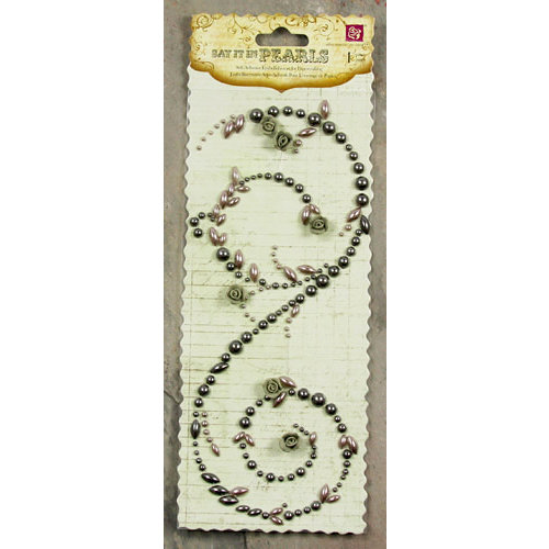 Prima - Say It In Pearls Collection - Self Adhesive Jewel Art - Bling - Swirl with Roses - Gray, CLEARANCE