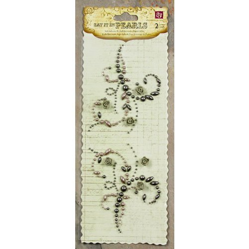 Prima - Say It In Pearls Collection - Self Adhesive Jewel Art - Bling - Mini Flourish with Roses - Gray, CLEARANCE