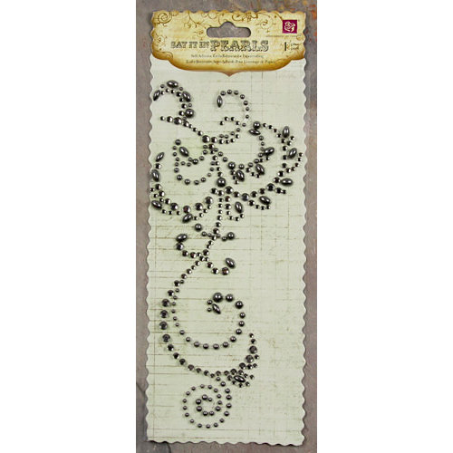 Prima - Say It In Pearls and Crystals Collection - Self Adhesive Jewel Art - Bling - Flourish - Black Diamond