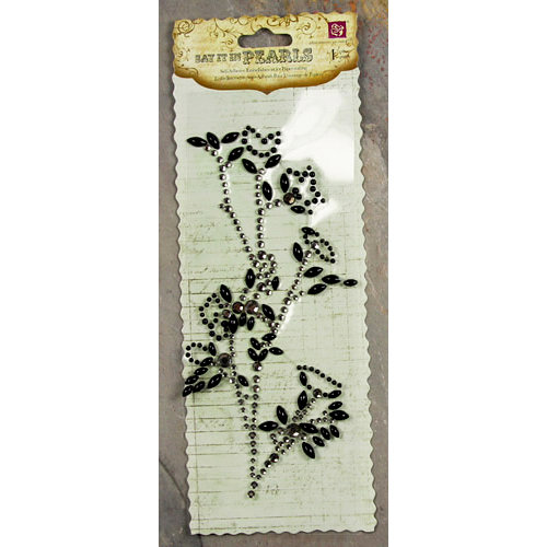 Prima - Say It In Pearls and Crystals Collection - Self Adhesive Jewel Art - Bling - Flower Stem - Black