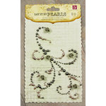 Prima - Say It In Pearls Collection - Self Adhesive Jewel Art - Bling - Swirl 2 with Roses - Gray, CLEARANCE