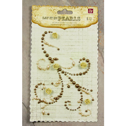 Prima - Say It In Pearls Collection - Self Adhesive Jewel Art - Bling - Swirl 2 with Roses - Brown