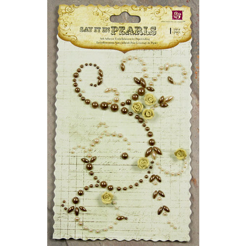 Prima - Say It In Pearls Collection - Self Adhesive Jewel Art - Bling - Swirl Corner with Roses - Brown