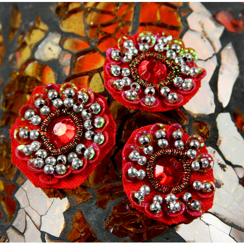 Prima - Dynasty Collection - Bling - Flower Center Embellishments - Ruby