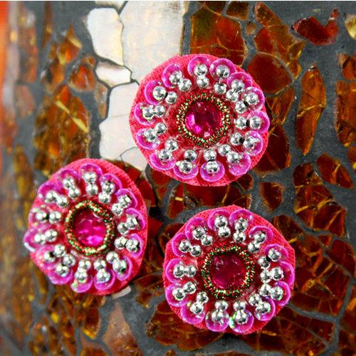 Prima - Dynasty Collection - Bling - Flower Center Embellishments - Dark Pink