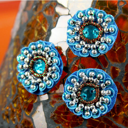 Prima - Dynasty Collection - Bling - Flower Center Embellishments - Azure, CLEARANCE