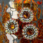 Prima - Dynasty Collection - Bling - Flower Center Embellishments - Topaz, CLEARANCE