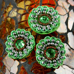Prima - Dynasty Collection - Bling - Flower Center Embellishments - Jade, CLEARANCE
