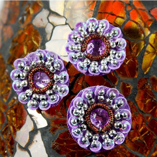 Prima - Dynasty Collection - Bling - Flower Center Embellishments - Amethyst