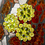 Prima - Monarch Collection - Bling - Flower Center Embellishments - Citrus, CLEARANCE
