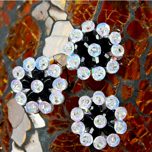 Prima - Monarch Collection - Bling - Flower Center Embellishments - Onyx, CLEARANCE