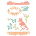Prima - Clear Acrylic Stamps and Self Adhesive Jewels - Green Leaf, CLEARANCE