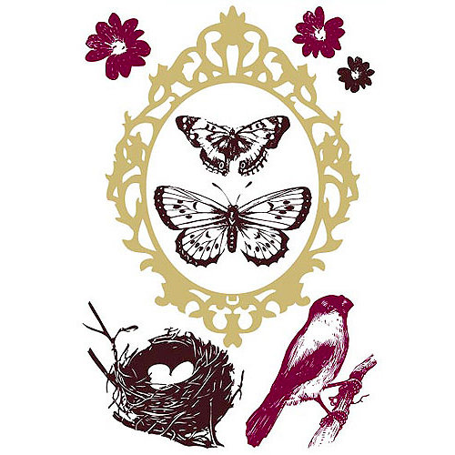 Prima - Clear Acrylic Stamps and Self Adhesive Jewels - Wings - click to enlarge