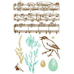Prima - Clear Acrylic Stamps and Self Adhesive Jewels - Songbird