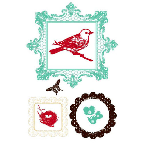 Prima - Clear Acrylic Stamps and Self Adhesive Jewels - Audubon, CLEARANCE