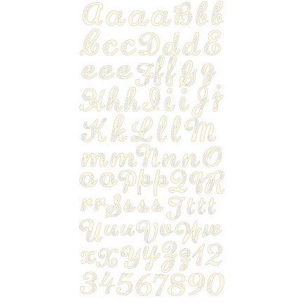 Prima - Shabby Chic Collection - Gem Alphabet Stickers - Cream, CLEARANCE