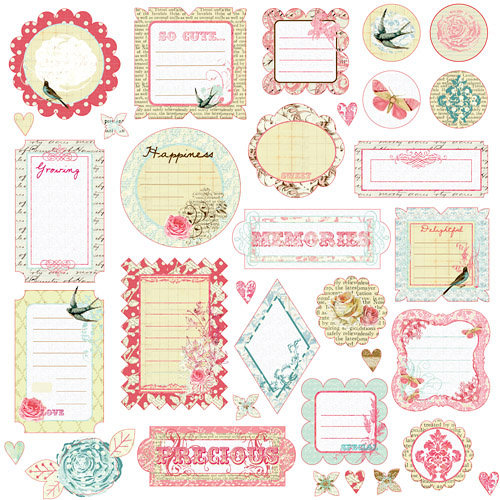 Prima - Shabby Chic Collection - Self Adhesive Glittered Chipboard Pieces - Journaling, CLEARANCE