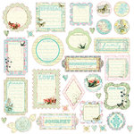 Prima - Watercolor Rainbow Collection - Self Adhesive Glittered Chipboard Pieces - Journaling, CLEARANCE