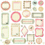 Prima - Raspberry Tea Collection - Self Adhesive Glittered Chipboard Pieces - Journaling, CLEARANCE