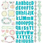 Prima - Watercolor Rainbow Collection - 12 x 12 Glittered Cardstock Stickers, CLEARANCE