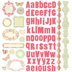 Prima - Flights of Fancy Collection - 12 x 12 Glittered Cardstock Stickers