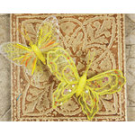 Prima - Butterflies Collection - Sheer Fabric Butterflies with Metal Clip - Yellow, CLEARANCE