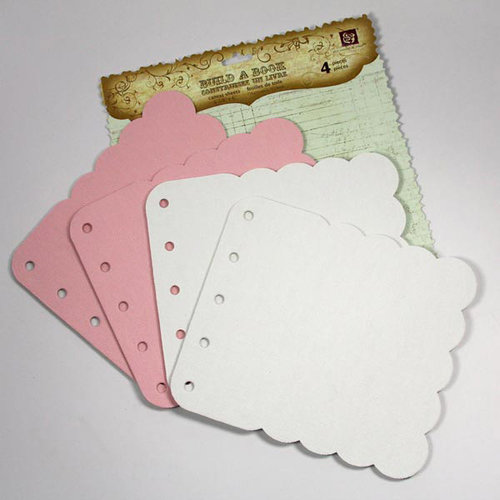 Prima - Build A Book Collection - Scalloped Canvas and Acrylic Book - Pink White