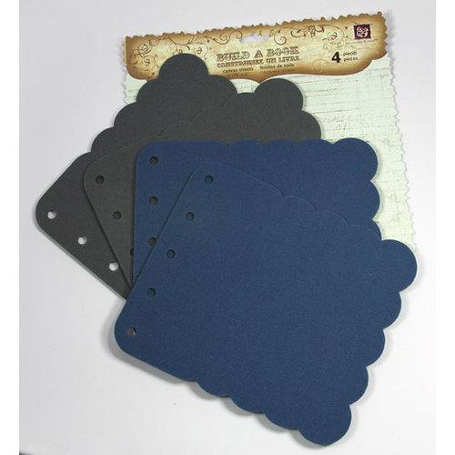 Prima - Build A Book Collection - Scalloped Canvas and Acrylic Book - Blue Grey