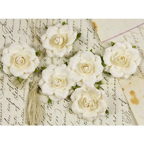 Prima - Tea Rose Collection - Mulberry Flower Embellishments - Snow