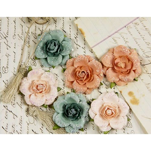 Prima - Tea Rose Collection - Mulberry Flower Embellishments - Peach Frost