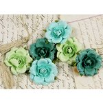 Prima - Tea Rose Collection - Mulberry Flower Embellishments - Sweet Teal