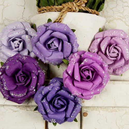 Prima - Winter Rose Collection - Flower Embellishments - Violet Ice